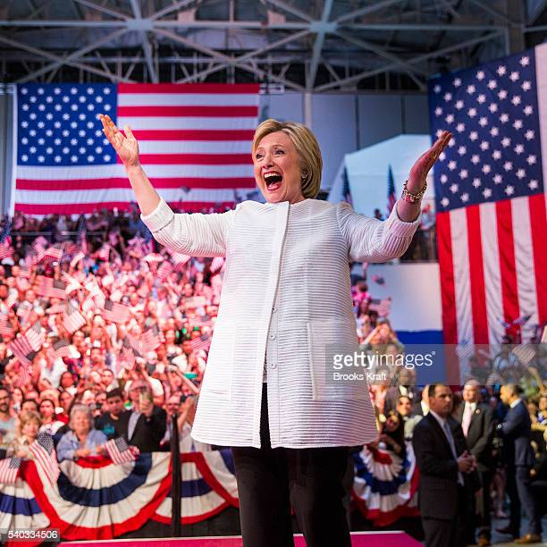 Democratic presidential candidate Hillary Clinton attends a primary night rally in the Brooklyn Navy Yard June 7 2016 in Brooklyn New York Clinton...
