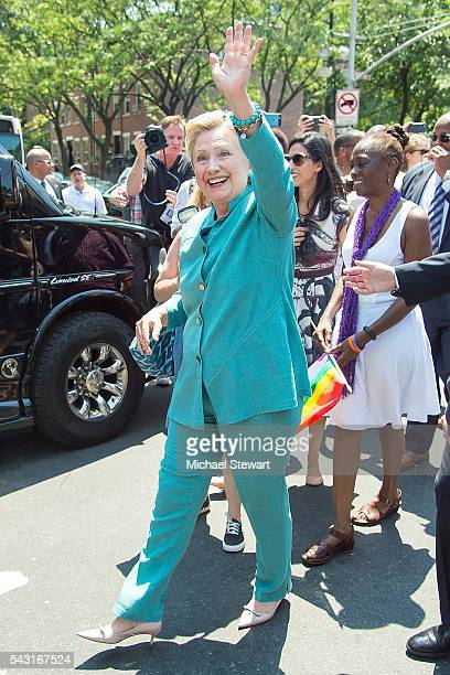 Democratic Presidential candidate HIllary Clinton attends the 2016 Pride March on June 26 2016 in New York City