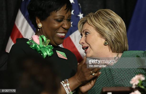 S Democratic presidential candidate Hillary Clinton attends the Alpha Kappa Alpha Sorority Day Capitol Luncheon at the Brookland Baptist Church...