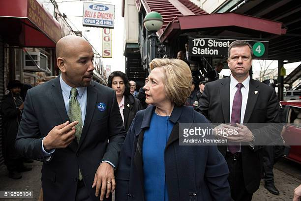 Democratic presidential candidate Hillary Clinton campaigns with borough President Ruben Diaz Jr on April 7 2016 in the Bronx borough of New York...