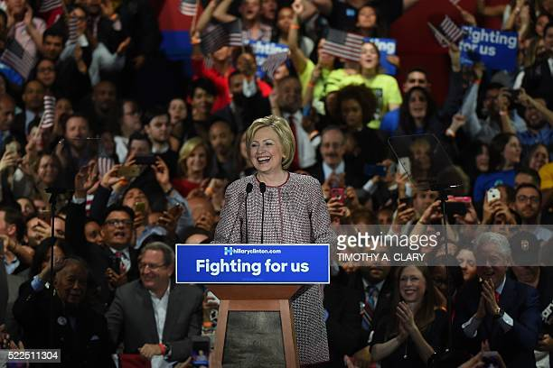 Democratic presidential candidate Hillary Clinton celebrates victory in the New York state primary on April 19 2016 in New York City Clinton won the...