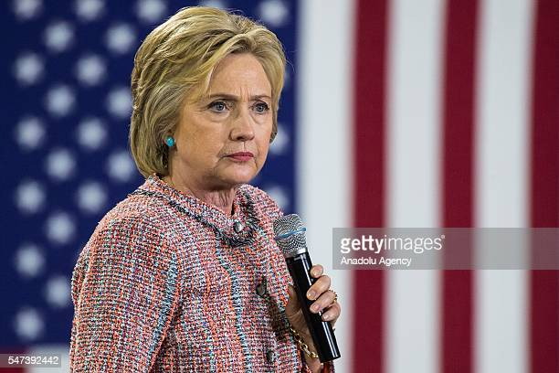 Democratic presidential candidate Hillary Clinton delivers a speech during a campaign rally at Northern Community College in Annandale, Washington,...
