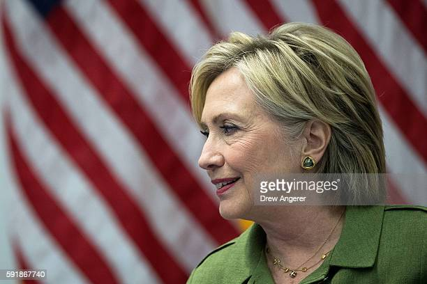 Democratic presidential candidate Hillary Clinton delivers opening remarks during a meeting with law enforcement officials at the John Jay College of...
