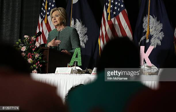 S Democratic presidential candidate Hillary Clinton delivers remarks at the Alpha Kappa Alpha Sorority Day Capitol Luncheon at the Brookland Baptist...