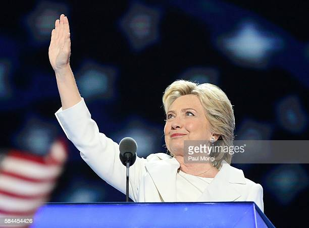 Democratic presidential candidate Hillary Clinton delivers remarks during the fourth day of the Democratic National Convention at the Wells Fargo...