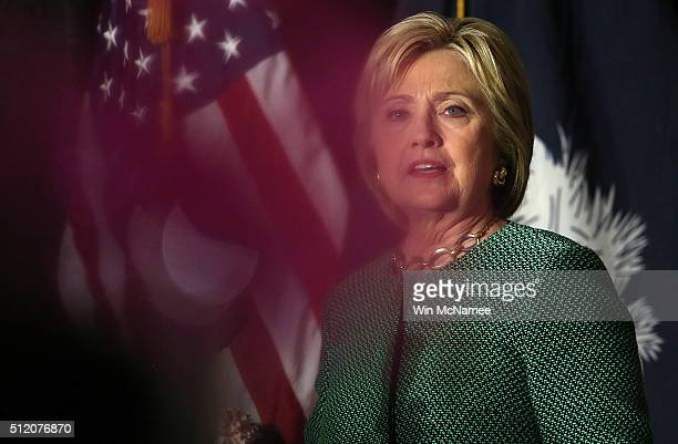 S Democratic presidential candidate Hillary Clinton delvers remarks at the Alpha Kappa Alpha Sorority Day Capitol Luncheon at the Brookland Baptist...