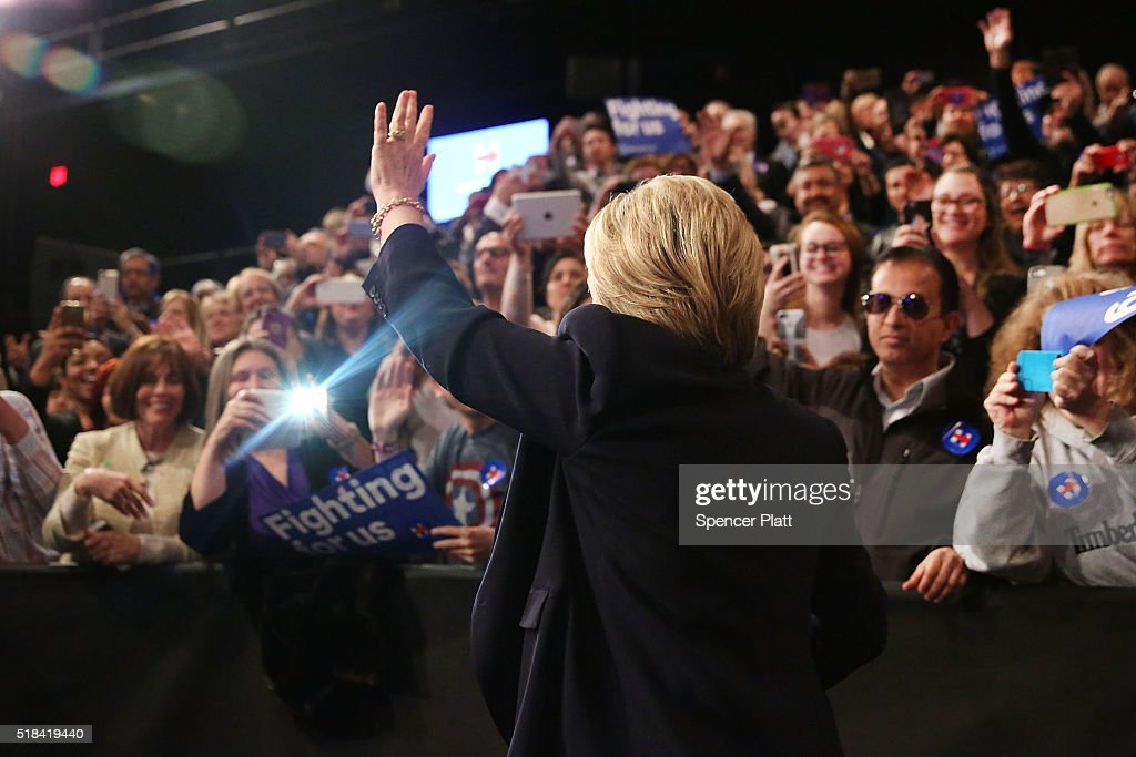 Democratic presidential candidate Hillary Clinton enters an auditorium at SUNY Purchase on March 31, 2016 in Purchase, New York. Clinton gave a speech to both students and supporters that covered a host of domestic and international issues. New York will hold its primaries on April 19.