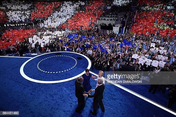 Democratic Presidential candidate Hillary Clinton former US President Bill Clinton Democratic Vice Presidential candidate Tim Kaine and Anne Holton...