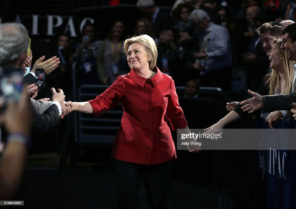 Democratic presidential candidate Hillary Clinton greets attendees piror to her address to the annual policy conference of the American Israel Public Affairs Committee (AIPAC) March 21, 2016 in Washington, DC. Presidential candidates from both parties gather in Washington to pitch their plans for Israel.