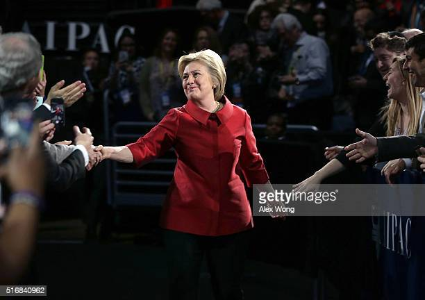 Democratic presidential candidate Hillary Clinton greets attendees piror to her address to the annual policy conference of the American Israel Public...