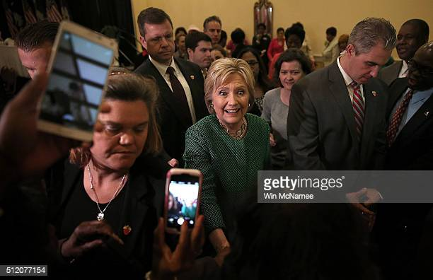 S Democratic presidential candidate Hillary Clinton greets guests after speaking at the Alpha Kappa Alpha Sorority Day Capitol Luncheon at the...