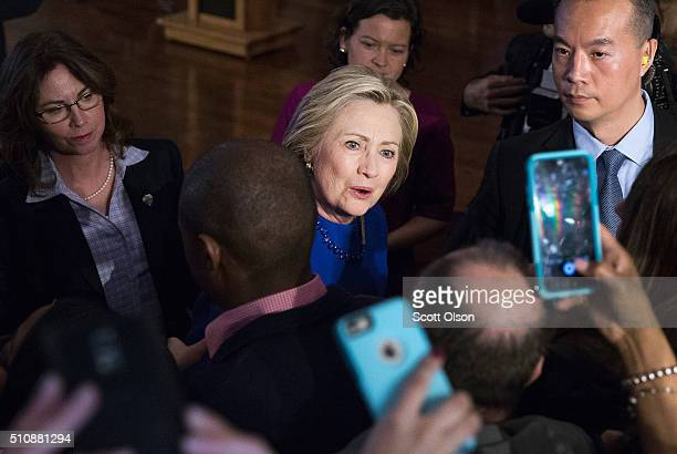 Democratic presidential candidate Hillary Clinton greets guests at a campaign rally in the historic Bronzeville neighborhood on February 17 2016 in...