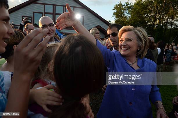 Democratic presidential candidate Hillary Clinton greets supporters following a grassroots organizing event at McIntyre Ski Area August 10, 2015 in...