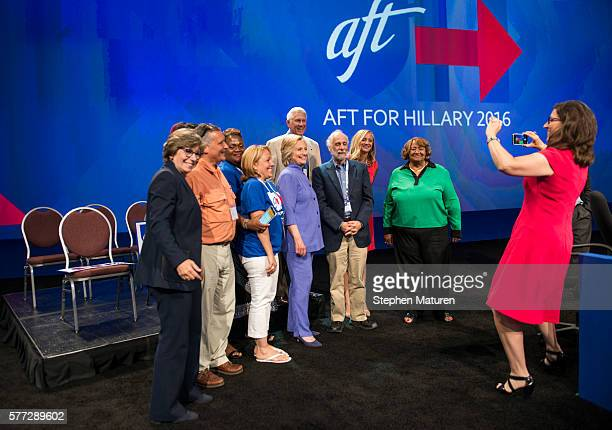 Democratic Presidential candidate Hillary Clinton greets supporters after speaking at the Minneapolis Convention Center on July 18 2016 in...