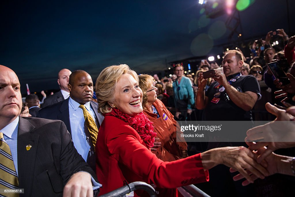 Democratic Presidential candidate Hillary Clinton greets supporters during a campaign rally, October 31, 2016 in Cincinnati, OH.