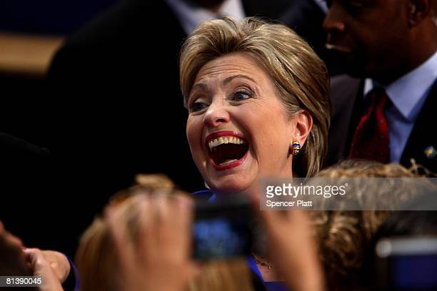Democratic presidential candidate Hillary Clinton greets supporters June 3 2008 in New York City Clinton's rival Sen Barack Obama of Illinois was...