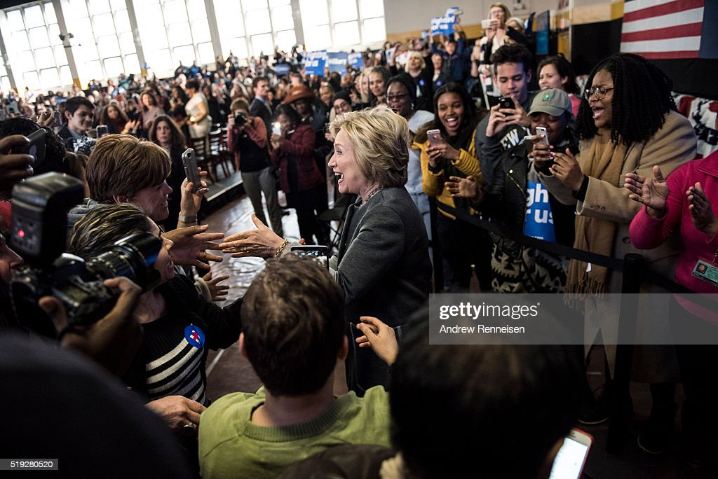 Democratic presidential candidate Hillary Clinton greets the crowd following a Women for Hillary Town Hall meeting with New York City first lady Chirlane McCray and New York Congresswomen Yvette Clarke on April 5, 2016 at Medgars Evers College in the Brooklyn borough of New York City. The meeting comes before the New York primary which takes place on April 19.
