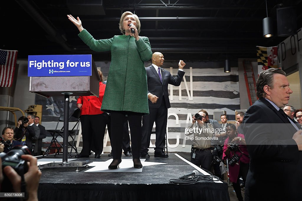 Democratic presidential candidate Hillary Clinton holds a campaign rally at City Garage April 10, 2016 in Baltimore, Maryland. Voters will head to polling places for Maryland's presidential primary April 26.