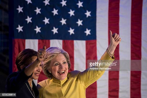Democratic presidential candidate Hillary Clinton holds a Latino organizing event on April 9 2016 while campaigning in the Brooklyn Borough of New...