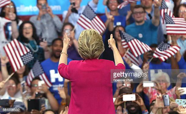 Democratic presidential candidate Hillary Clinton holds a rally a day after accepting the Democratic Party's nomination for president at Temple...