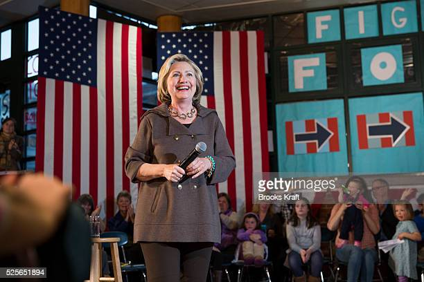 Democratic presidential candidate Hillary Clinton holds a town hall campaign event in Concord, NH