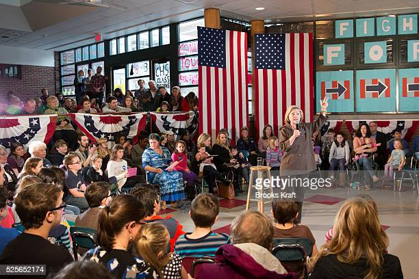 Democratic presidential candidate Hillary Clinton holds a town hall campaign event in Concord NH
