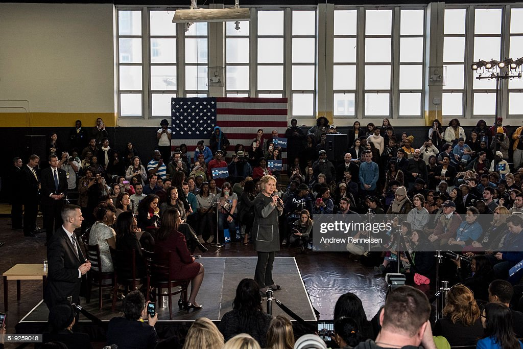 Democratic Presidential Candidate Hillary Clinton hosts a Women for Hillary Town Hall meeting with New York City First Lady Chirlane McCray and New York Congresswomen Yvette Clarke on April 5, 2016 at Medgars Evers College in the Brooklyn borough of New York City. The meeting comes before the New York primary which takes place on April 19.