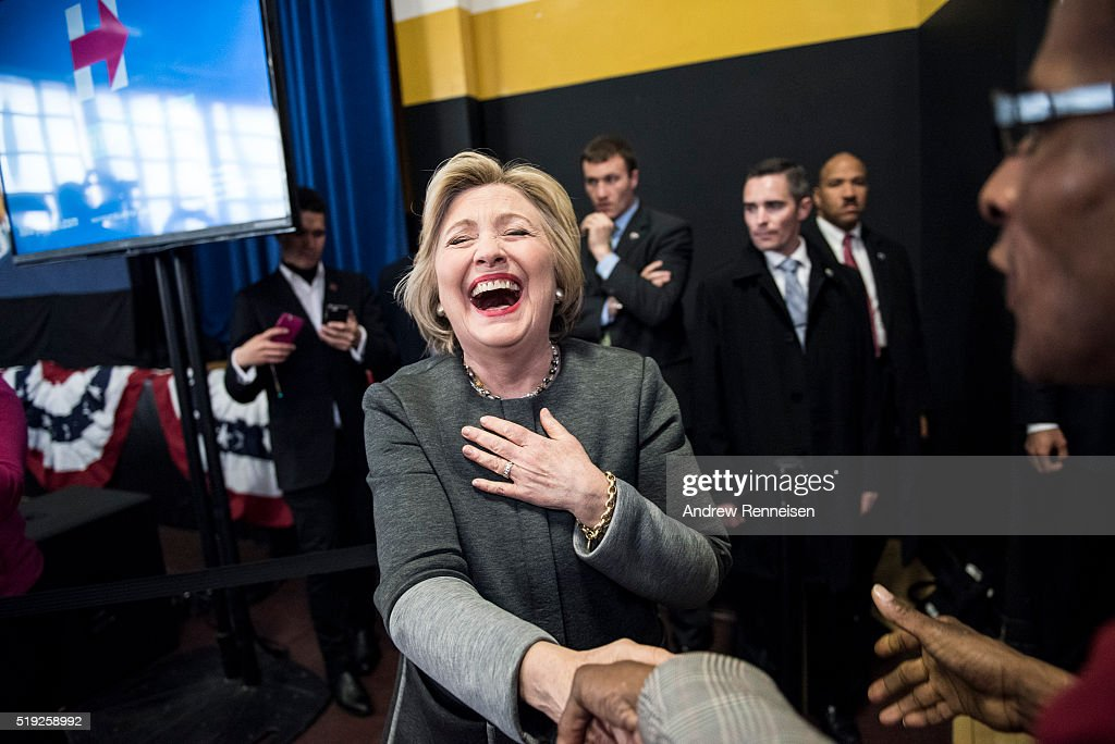 Democratic Presidential Candidate Hillary Clinton is greeted by supporters at a Women for Hillary Town Hall meeting with New York City First Lady Chirlane McCray and New York Congresswomen Yvette Clarke on April 5, 2016 at Medgars Evers College in the Brooklyn borough of New York City. The meeting comes before the New York primary which takes place on April 19.