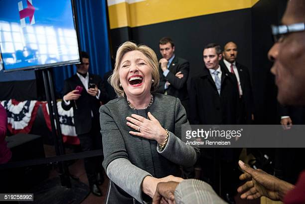 Democratic Presidential Candidate Hillary Clinton is greeted by supporters at a Women for Hillary Town Hall meeting with New York City First Lady...