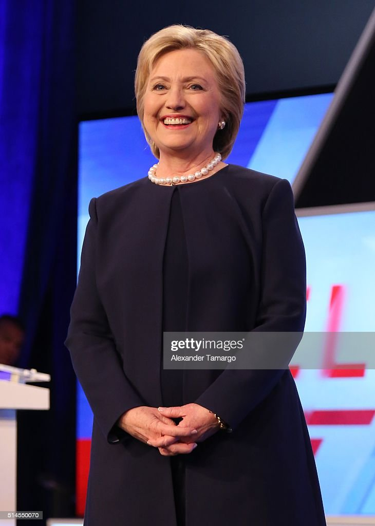 Democratic presidential candidate Hillary Clinton is seen before the Univision News and Washington Post Democratic Presidential Primary Debate on the Miami Dade College Kendall Campus on March 9, 2016 in Miami, Florida.
