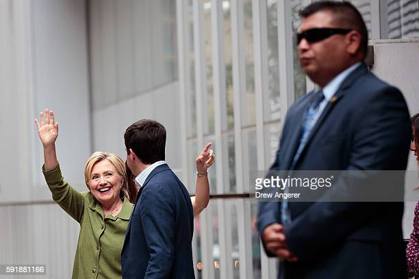 Democratic presidential candidate Hillary Clinton leaves John Jay College of Criminal Justice following a meeting with law enforcement officials...