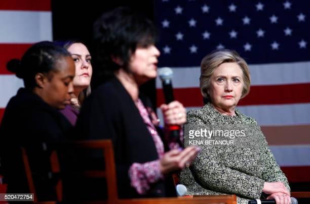 Democratic presidential candidate Hillary Clinton listens to Rita Kestenbaum the mother of Carol Kestenbaum, a 20-year-old Kennedy High School...