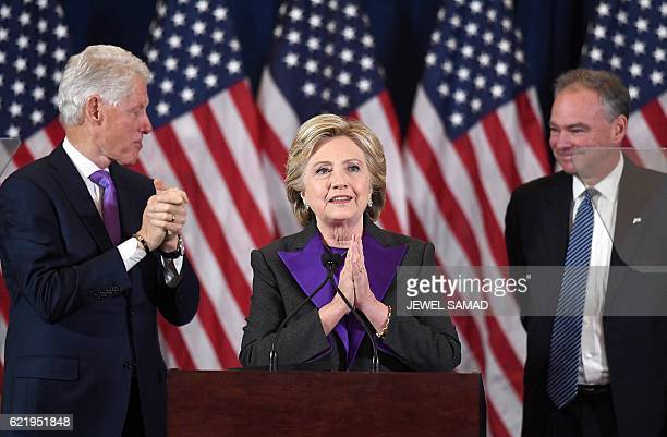 US Democratic presidential candidate Hillary Clinton makes a concession speech after being defeated by Republican Presidentelect Donald Trump as...