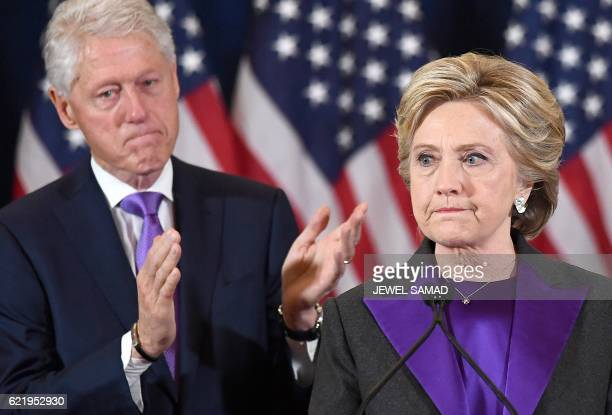 Democratic presidential candidate Hillary Clinton makes a concession speech after being defeated by Republican President-elect Donald Trump, as...