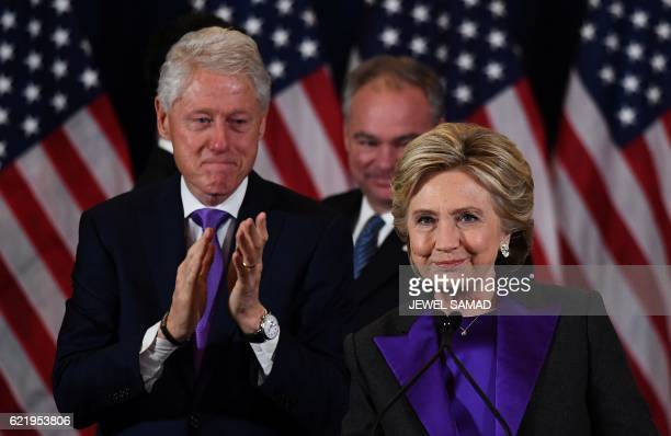 Democratic presidential candidate Hillary Clinton makes a concession speech after being defeated by Republican presidentelect Donald Trump as former...