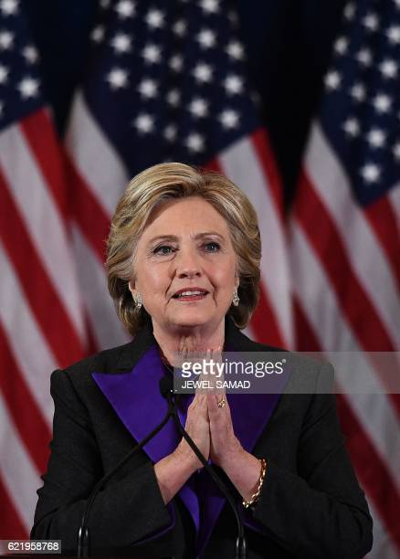 US Democratic presidential candidate Hillary Clinton makes a concession speech after being defeated by Republican presidentialelect Donald Trump in...
