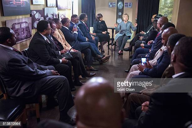 Democratic presidential candidate Hillary Clinton meets with African American ministers at the Westin Book Cadillac hotel on March 5 2016 in Detroit...