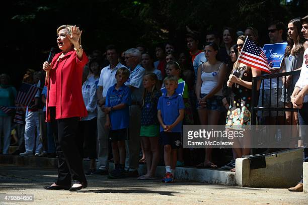 Democratic Presidential candidate Hillary Clinton participates in a grassroots organizing event in College Park at Dartmouth College July 3, 2015 in...