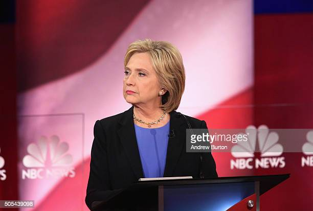 Democratic presidential candidate Hillary Clinton participates in the Democratic Candidates Debate hosted by NBC News and YouTube on January 17 2016...