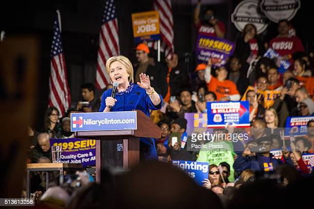 Democratic presidential candidate Hillary Clinton rallies supporters in Manhattan after a string of primary victories on Super Tuesday.