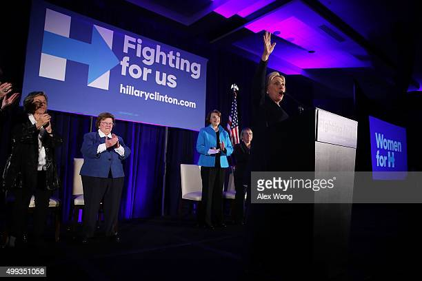 Democratic presidential candidate Hillary Clinton speaks as Sens Barbara Boxer Barbara Mikulski Dianne Feinstein and Patty Murray listen during a...