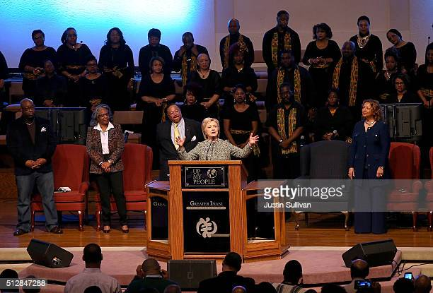 Democratic Presidential candidate Hillary Clinton speaks at a church services at The Greater Imani Cathedral of Faith on February 28 2016 in Memphis...