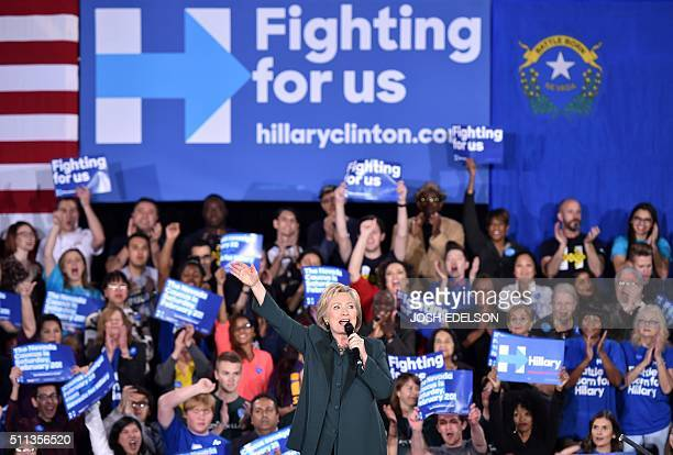 Democratic presidential candidate Hillary Clinton speaks at a campaign event ahead of the Nevada Caucus in Las Vegas Nevada on February 19 2016 AFP...