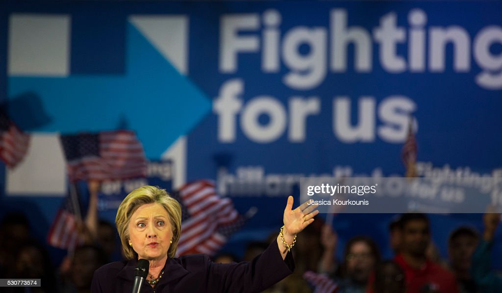 Democratic presidential candidate Hillary Clinton speaks at a campaign event at Camden County College on May 11, 2016 in Blackwood, New Jersey. Residents of New Jersey will vote in the Democratic primary on June 7, 2016.