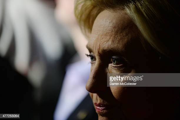 Democratic presidential candidate Hillary Clinton speaks at a launch party at Carter Hill Orchard on June 15, 2015 in Concord, New Hampshire. Clinton...