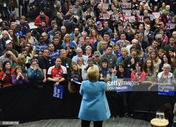 Democratic presidential candidate Hillary Clinton speaks at a rally Manchester Community College February 8 2016 in Manchester NH / AFP / Don EMMERT