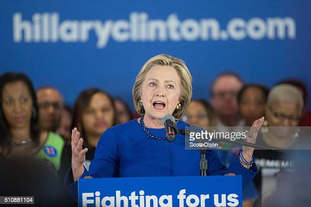 Democratic presidential candidate Hillary Clinton speaks at a campaign rally in the historic Bronzeville neighborhood on February 17 2016 in Chicago...