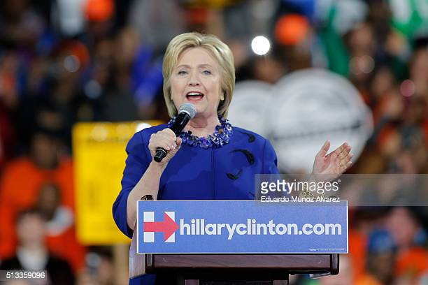 Democratic presidential candidate Hillary Clinton speaks at a rally at the Javits Center on March 2 2016 in New York City The former secretary of...