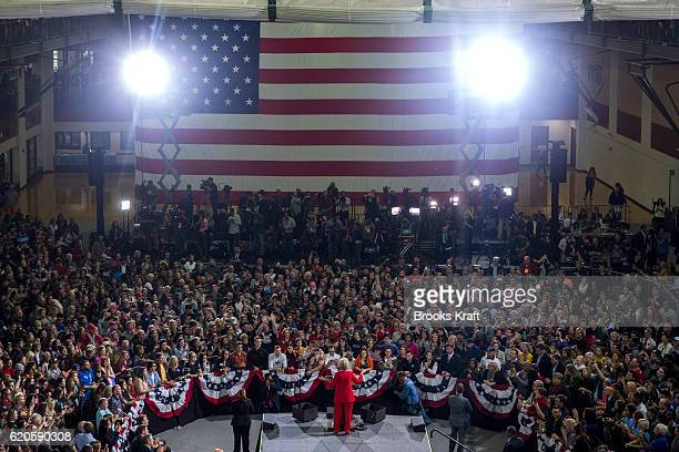 Democratic Presidential candidate Hillary Clinton speaks at a campaign rally at Kent State University October 31 2016 in Kent OH