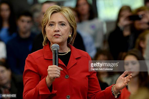 Democratic Presidential candidate Hillary Clinton speaks at a town hall event at Manchester Community College October 5 2015 in Manchester New...